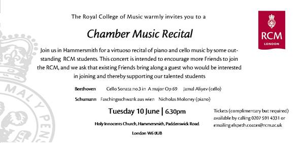 Royal College of Music Recital – Holy Innocents – 10 June