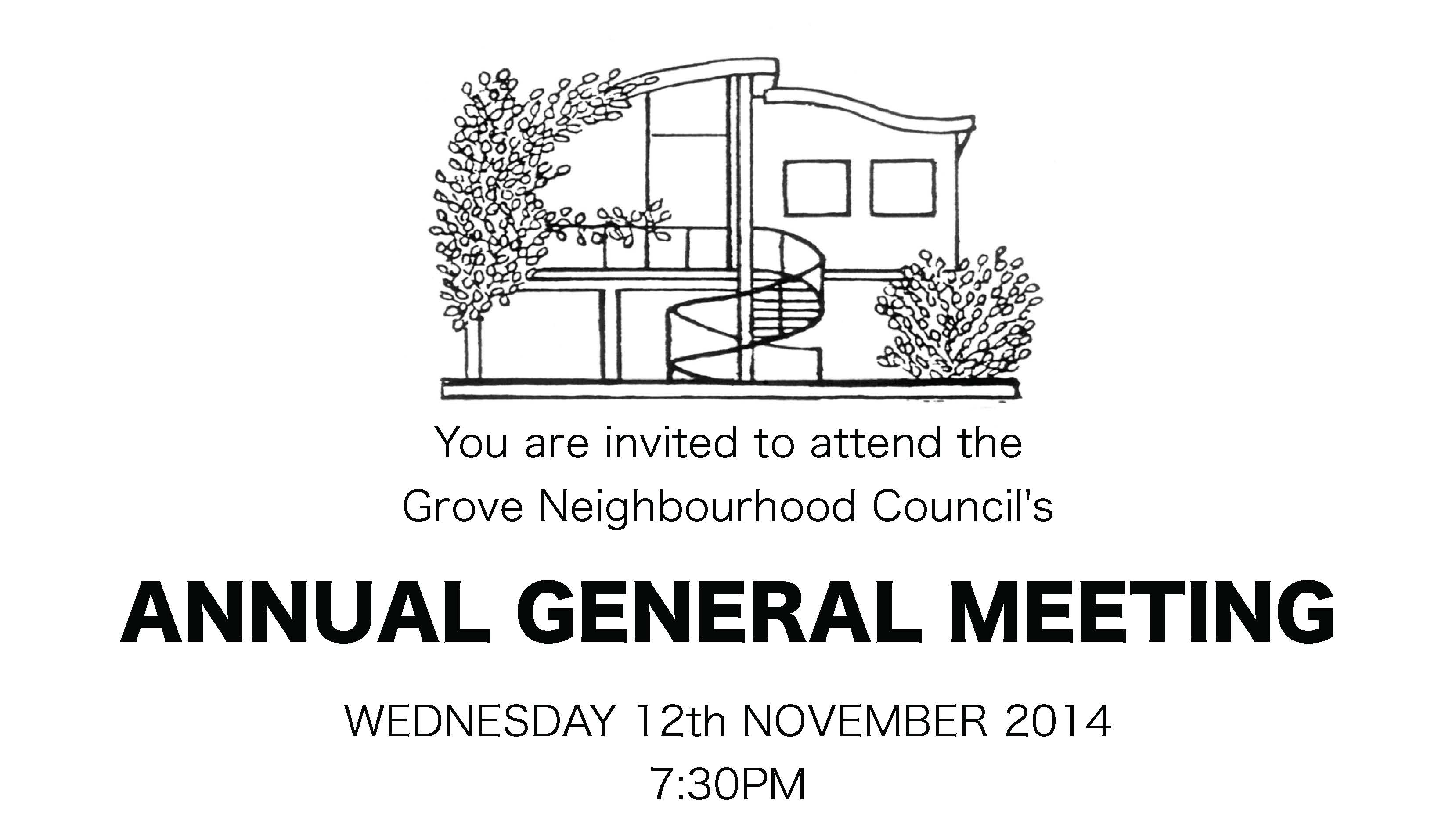 Grove Neighbourhood Centre Annual General Meeting 12th November