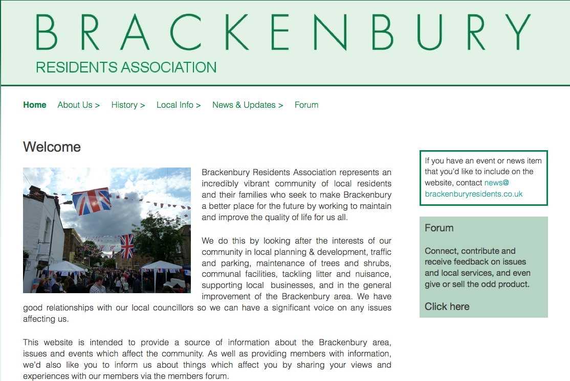 Updated Brackenbury Residents Association website